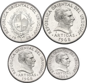 obverse: Uruguay. Lot of four (4) Proof coins: 20, 10, 5 and 1 Pesos 1968