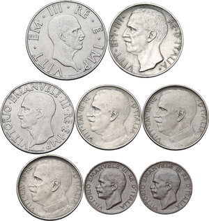 obverse: Casa Savoia . Insieme di otto (8) monete: 10 lire 1927 **, 2 lire 1942, lira 1942, 50 centesimi 1919 rigato, 1925 rigato (2), 5 centesimi 1919, 5 centesimi 1937
