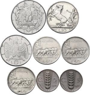 reverse: Casa Savoia . Insieme di otto (8) monete: 10 lire 1927 **, 2 lire 1942, lira 1942, 50 centesimi 1919 rigato, 1925 rigato (2), 5 centesimi 1919, 5 centesimi 1937