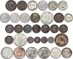 obverse: Casa Savoia. Vittorio Emanuele III (1900-1943). Insieme di trentatre (33) monete: 2 lire 1862 N (Vittorio Emanuele II), 10 centesimi 1866 (Vittorio Emanuele II), 10 lire 1936, 5 lire 1928, 2 lire 1943, 2 lire 1940, buono da 1 lira 1922, buono da 1 lira 1924, 50 centesimi 1919 bordo liscio, 50 centesimi 1940, 20 centesimi 1911, 1921, 1940, 1941 (2), 1943, 10 centesimi 1932, 1937, 1940, 5 centesimi 1913, 1925, 1926, 1928, 1929, 1930, 1931, 1934, 1937, 1939, 1 centesimo 1904, 1909, 1916 (2)
