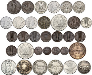 reverse: Casa Savoia. Vittorio Emanuele III (1900-1943). Insieme di trentatre (33) monete: 2 lire 1862 N (Vittorio Emanuele II), 10 centesimi 1866 (Vittorio Emanuele II), 10 lire 1936, 5 lire 1928, 2 lire 1943, 2 lire 1940, buono da 1 lira 1922, buono da 1 lira 1924, 50 centesimi 1919 bordo liscio, 50 centesimi 1940, 20 centesimi 1911, 1921, 1940, 1941 (2), 1943, 10 centesimi 1932, 1937, 1940, 5 centesimi 1913, 1925, 1926, 1928, 1929, 1930, 1931, 1934, 1937, 1939, 1 centesimo 1904, 1909, 1916 (2)