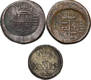 obverse: Pesi Monetali. Lotto di tre pesi monetari del XVII sec.: Peso per la Sovrana d oro (22 Shilling) [9.84 g.] e due pesi per i 4 Reales [13.38 e 13.45 g.]