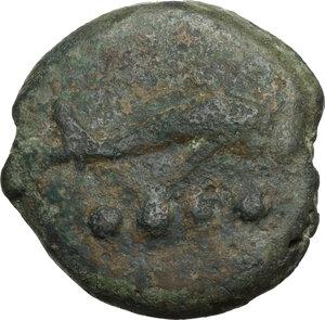 reverse: Dioscuri/Mercury series.AE Cast Triens, c. 275-270 BC