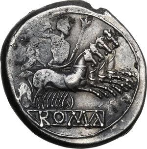 reverse: Anonymous. AR Quadrigatus, c. 225-214 BC