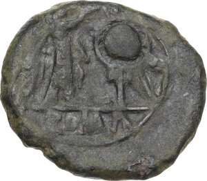 reverse: Anonymous. AE (debased AR?) Victoriatus, after 218 BC