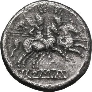 reverse: Anonymous. AR Denarius, after 211 BC