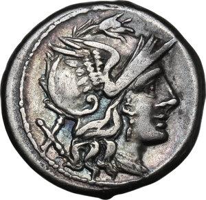 obverse: Anonymous. AR Denarius, 179-170 BC