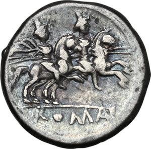 reverse: Anonymous. AR Denarius, 179-170 BC