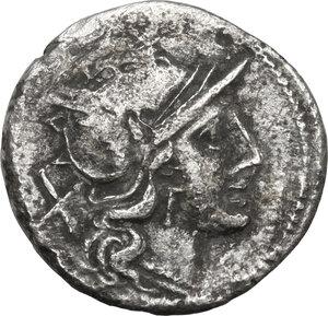 obverse: Anonymous. Fourrée Denarius, 179-170 BC
