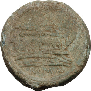 reverse: Sextantal series.AE As, after 211 BC. Central Italy mint