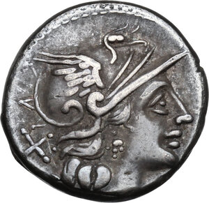obverse: Pinarius Natta.AR Denarius, 149 BC
