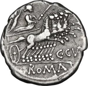 reverse: C. Curiatius Trigeminus. AR Denarius, 142 BC