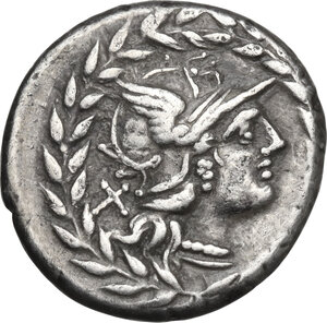 obverse: Cn. Gellius.AR Denarius, 138 BC