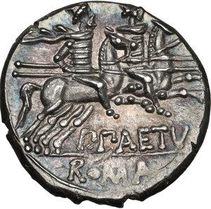 reverse: P. Aelius Paetus.AR Denarius, 138 BC