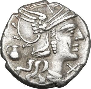 obverse: Sex. Pompeius Fostlus.AR Denarius, 137 BC