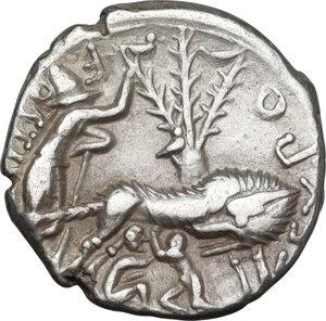 reverse: Sex. Pompeius Fostlus.AR Denarius, 137 BC