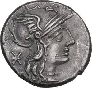 obverse: P. Maenius Antiaticus M. f. AR Denarius, 132 BC