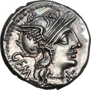 obverse: M. Aburius M.f. Geminus.AR Denarius, 132 BC