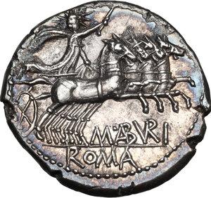 reverse: M. Aburius M.f. Geminus.AR Denarius, 132 BC