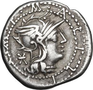 obverse: M. Acilius M.f.AR Denarius, 130 BC