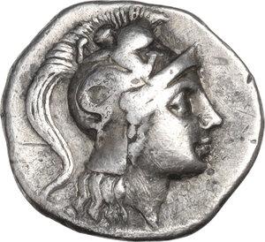 obverse: Southern Apulia, Tarentum. AR Drachm, Histiarchos, magistrate, c. 272-240 BC