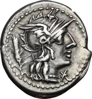 obverse: Cn. Domitius Ahenobarbus.AR Denarius, 128 BC