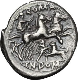 reverse: Cn. Domitius Ahenobarbus.AR Denarius, 128 BC