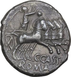 reverse: C. Cassius.AR Denarius, 126 BC