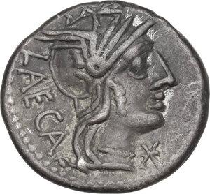 obverse: M. Porcius Laeca.AR Denarius, 125 BC