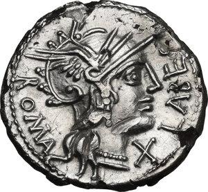 obverse: Q. Fabius Labeo.Fourrée Denarius, circa 124 BC