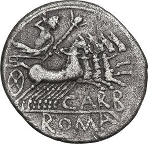 reverse: Cn. Carbo.AR Denarius, 121 BC