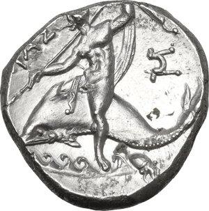 reverse: Southern Apulia, Tarentum. AR Nomos, circa 240-228 BC
