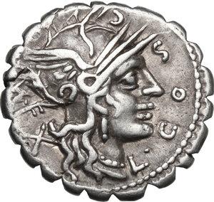 obverse: L. Cosconius M.f.AR Denarius serratus, 118 BC. Narbo mint