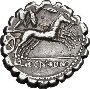 reverse: L. Cosconius M.f.AR Denarius serratus, 118 BC. Narbo mint