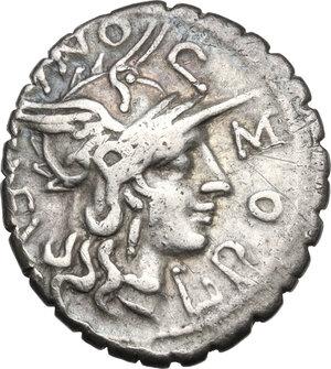obverse: L. Pomponius Cn. f.AR Denarius serratus, 118 BC