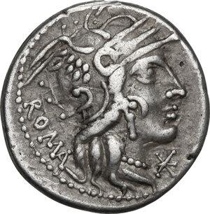 obverse: M. Calidius, Q. Metellus and Cn. Fulvius. AR Denarius, 117-116 BC