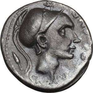 obverse: Cn. Blasio Cn. F.AR Denarius, 112-111 BC