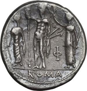 reverse: Cn. Blasio Cn. F.AR Denarius, 112-111 BC