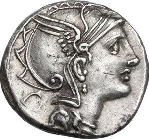 obverse: Appius Claudius Pulcher, T. Manlius Mancinus and Q. Urbinius. AR Denarius, 111-110 BC