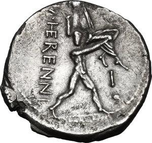 reverse: M. Herennius. AR Denarius, 108-107 BC