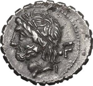 obverse: L. Scipio Asiagenus.Fourrée Denarius serratus, 106 BC
