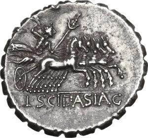 reverse: L. Scipio Asiagenus.Fourrée Denarius serratus, 106 BC