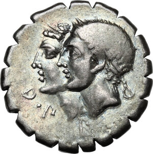 obverse: C. Sulpicius C.f. Galba.AR Denarius serratus, 106 BC