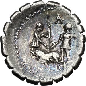 reverse: C. Sulpicius C.f. Galba.AR Denarius serratus, 106 BC