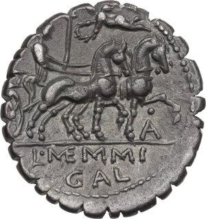 reverse: L. Memmius Galeria.AR Denarius serratus, 106 BC