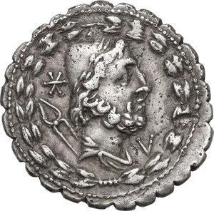 obverse: Lucius Aurelius Cotta.AR Denarius serratus, 105 BC