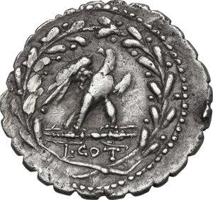 reverse: Lucius Aurelius Cotta.AR Denarius serratus, 105 BC