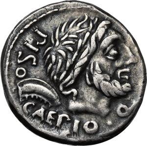obverse: L. Calpurnius Piso Caesoninus and Q. Servilius Caepio, quaestors.AR Denarius, 100 BC