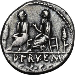 reverse: L. Calpurnius Piso Caesoninus and Q. Servilius Caepio, quaestors.AR Denarius, 100 BC