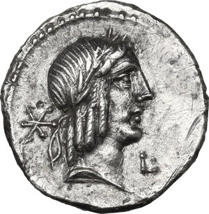 obverse: L. Calpurnius Piso Frugi.AR Denarius, 90 BC